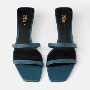 Zara Blue-Green Leather Strappy Block Heel Sandals
